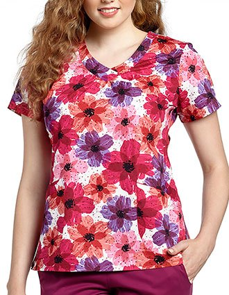 White Cross Women's Cheerful Glow Print Rounded V-Neck Top
