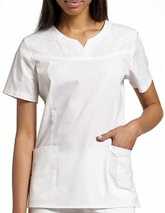 White Cross Allure Women's V-Neck Fashion Top