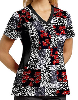 White Cross Women's Spots Of Floral V-Neck Printed Scrub Top