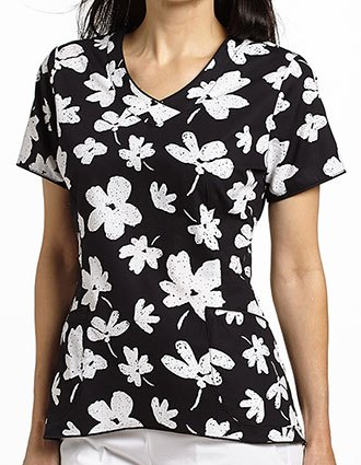 White Cross Womens Bella Fiore SP16 Black Curved Bottom V-Neck Top
