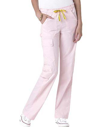 Wink Scrubs Women's Ruffle Cargo Roll-Up Solid Nursing Pants-WI-5303