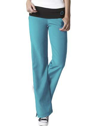 Wink Scrubs Women's Fold Over Knit Waist Flare Leg Petite Scrub Pant
