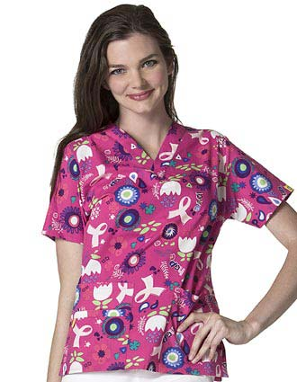 Wink Scrubs Women's Pink Power Printed V-Neck 2 Pocket Scrub Top
