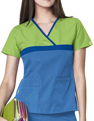 Wink Scrubs Women's Tri-Charlie Mock Wrap block Y-Neck Scrub Top-WI-6026C