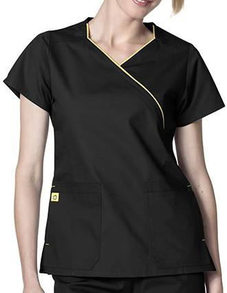 Wink Scrubs Women's The Hotel Fit Mock Wrap Solid Scrub Top-WI-6066