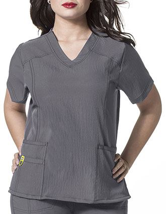 Wink Scrubs WonderWink Plus Curved V-Neck Nurse Scrub Top-WI-6105