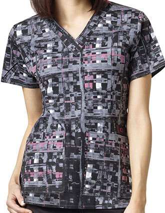 WonderWink WonderFLEX Prints Checkmate Darted V-Neck Scrub Top