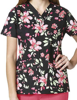 WonderFLEX Prints Womens Verity Secret Garden Print V-Neck Top