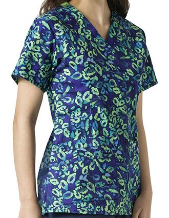 WonderWink WonderFLEX Prints Wild Paws Darted V-Neck Scrub Top