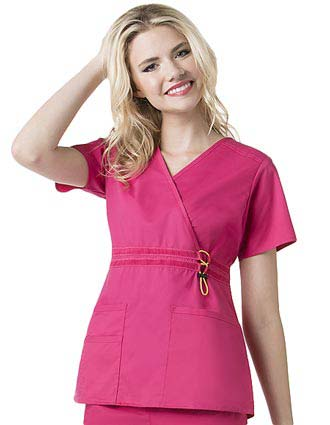 Wink Scrubs Women Mock Wrap Flex Waist Nursing Top-WI-6202