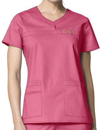 Wink Scrubs Lady Fit Curved Notch-Neck Nursing Scrub Top-WI-6208