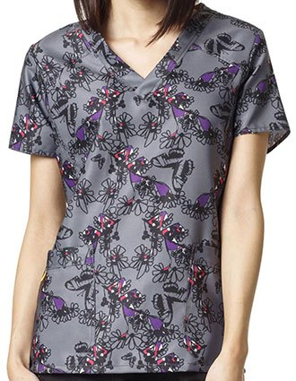 WonderWink Four-Stretch Prints Electric Garden Tagless V-Neck Scrub Top