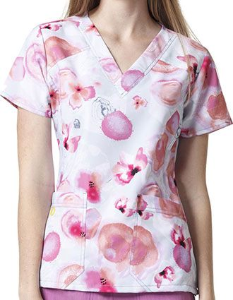 WonderWink Four-Stretch Prints Pink Enough Tagless V-Neck Scrub Top