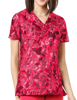 WonderWink FFX Sport Prints Women's Prismatic Strawberry V-Neck Top