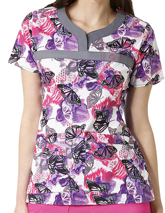 WonderWink WonderFLEX Prints Womens Patience Curved Notch Neck Flights of Fancy Print Top