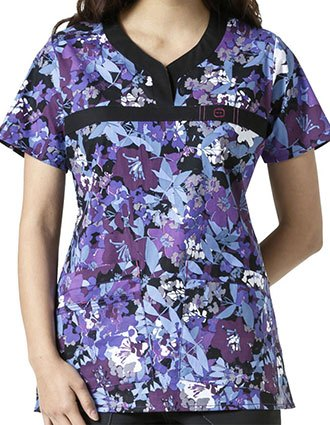 WonderWink WonderFlex Prints Nightshade Curved Y-Neck Scrub Top