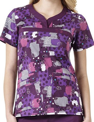 WonderWink WonderFlex Prints Pokey Dots Curved Notch-Neck Scrub Top