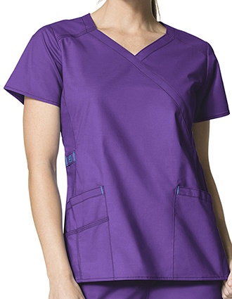 Wink Scrubs WonderFlex Lady Fit Y-Neck Mock Wrap Nurses Scrub Top-WI-6308