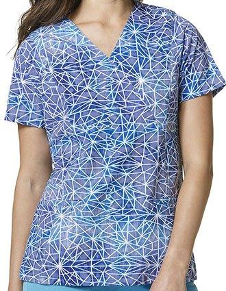 Wonderwink HP Prints Women's Stain Glass Mock Wrap Top