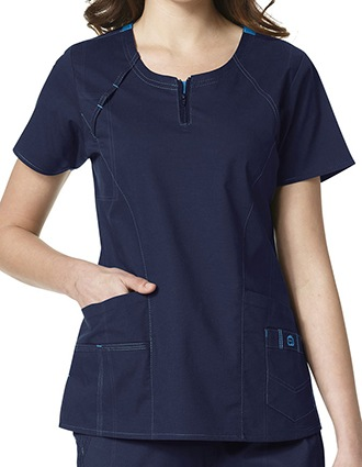 WonderWink Wonderflex Women's Heaven Fashion Zip Scrub Top-WI-6408