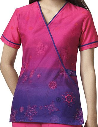 WonderWink WonderFLEX Prints Women's Charlotte's Web Mock Wrap Scrub Top