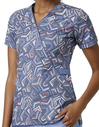 WonderWink WonderFLEX Prints Women's Smooth Talk Mock Wrap Scrub Top