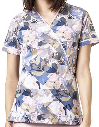 WonderWink WonderFLEX Prints Women's Wallflower Mock Wrap Scrub Top