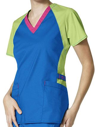 Wonderwink Wonderflex Women's Trinity 3 Pocket Color Block Top-WI-6608