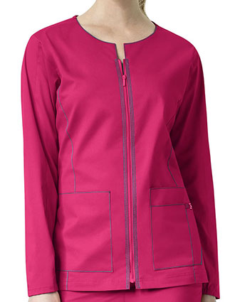 WonderWink Seven Flex Women's Contrast Triple Stitching Zip-Front Warm-Up Jacket-WI-8701