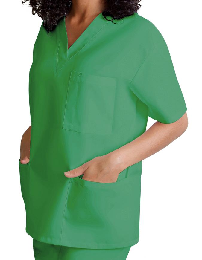Adar Women's V-Neck Three Pockets Nursing Scrub Top