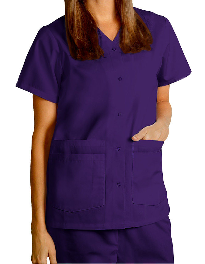 Adar Women's Nurses Double Pocket Snap Front Scrub Top