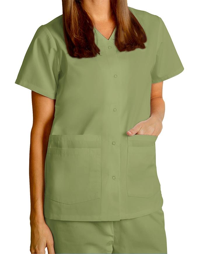 Adar Women's Nurses Double Pocket Snap Front Scrub Top