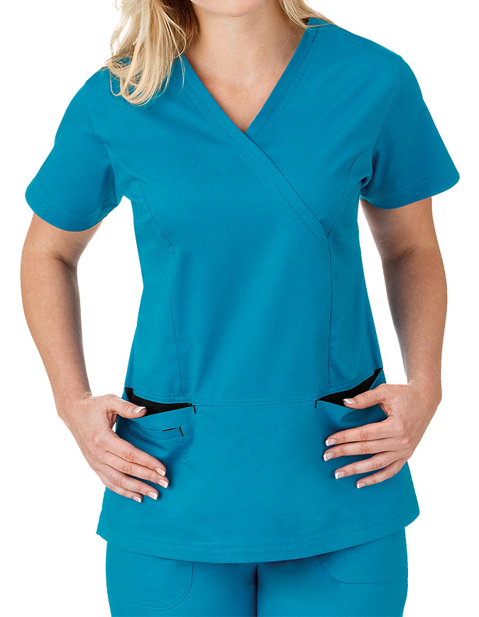 Bio Stretch Ladies Mock Wrap Scrub Top