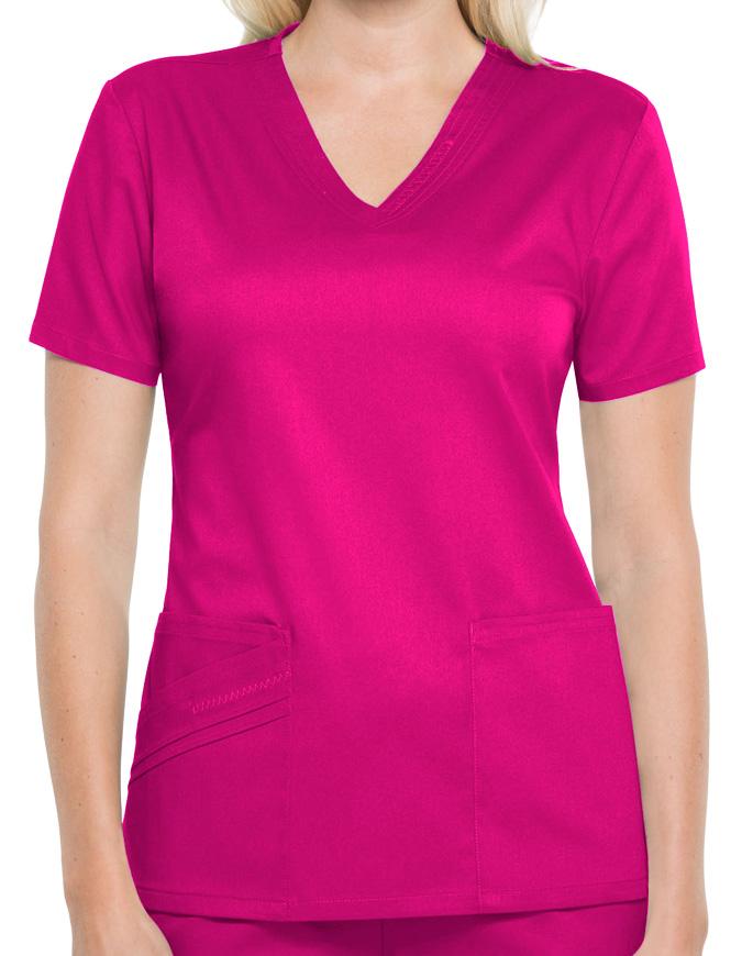 Cherokee Luxe Women Solid V- Neck Nursing Scrub Top