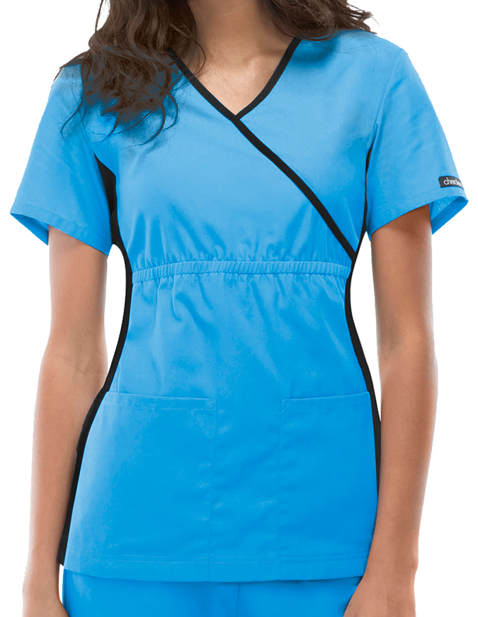 Cherokee Flexibles Women Nurses Mock Wrap Scrub Top