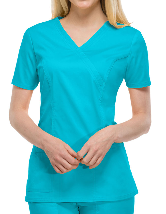 Cherokee Workwear Womens Mock Wrap Scrub Top