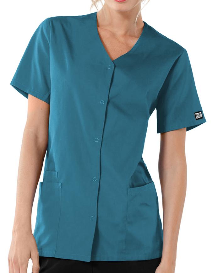 Cherokee Workwear Women's Short Sleeve Snap Scrub Top