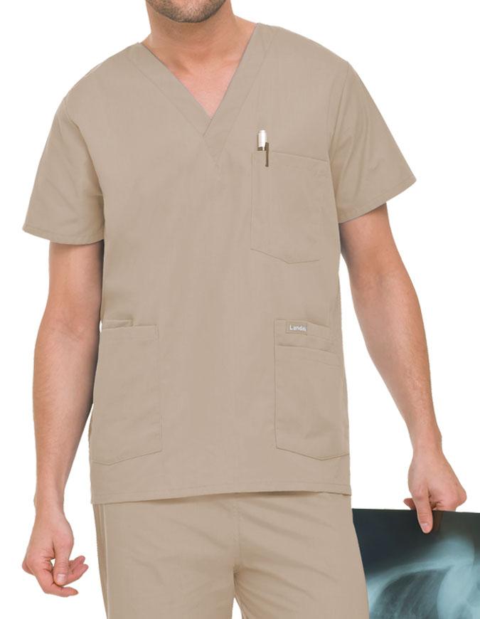 Landau Men's Multiple Pockets V-Neck Solid Nurse Scrub Top