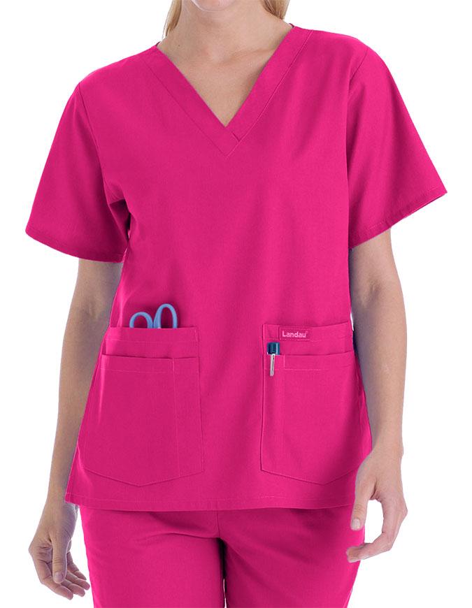 Landau Trends Women's Four Pocket V-Neck Nurse Scrub Top
