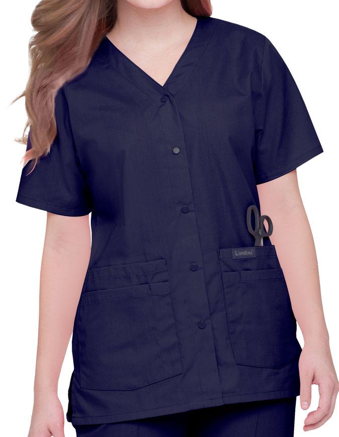 Landau Womens V-Neck Snap Front Solid Nurse Scrub Top