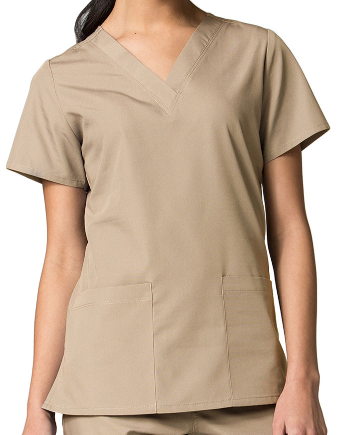 Maevn Red Panda Women's Two Pocket V-Neck Solid Scrub Top