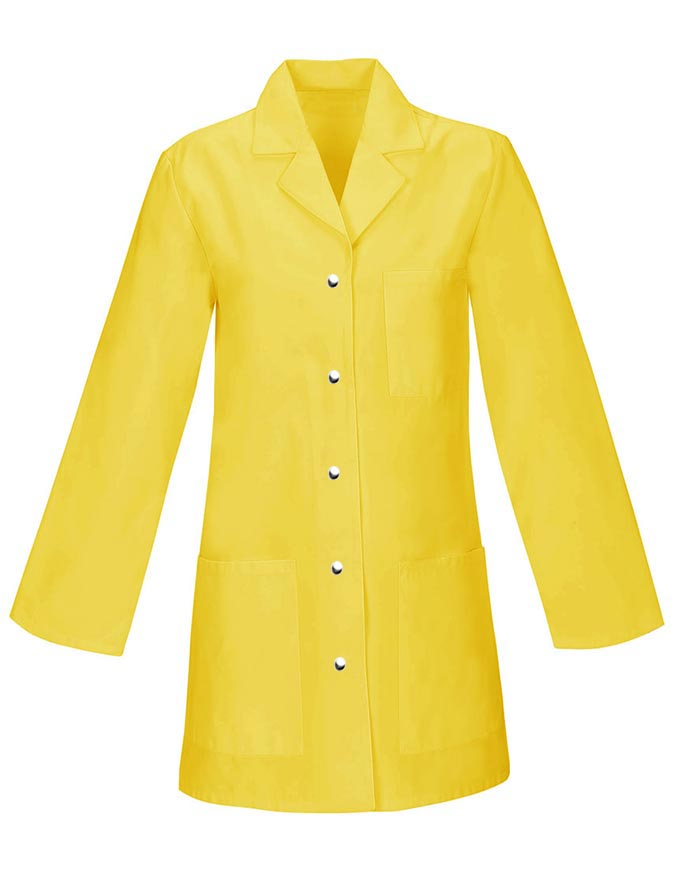 Womens 32 Inches Three Pocket Snap Front Colored Lab Coat