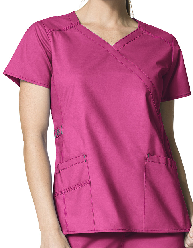 Wink Scrubs WonderFlex Lady Fit Y-Neck Mock Wrap Nurses Scrub Top