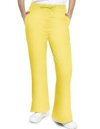 Adar Women's Two Slash Pockets Flare Leg Scrub Pants