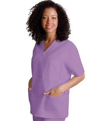 Adar Women's V-Neck Three Pockets Nursing Scrub Top