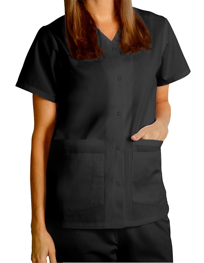 Adar Women Nurses Double Pocket Snap Front Scrub Top