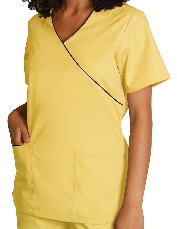 Adar Women Uniforms Mock Wrap Contrast Trim Scrub Top