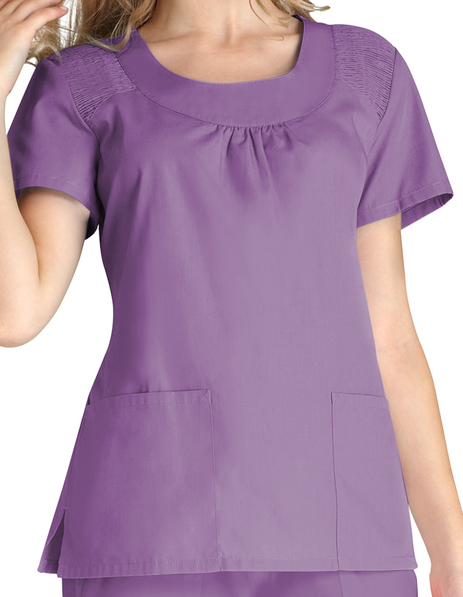 Adar Women Scoop Neck Smocked Solid Nursing Scrub Top