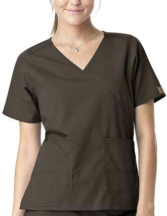 Carhartt Women Mock Wrap Two-Pocket Scrub Top