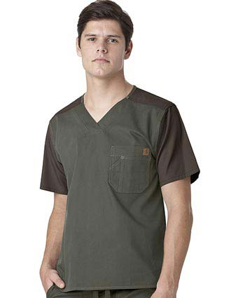 Carhartt Mens Color Block Nurse Scrub Utility Top